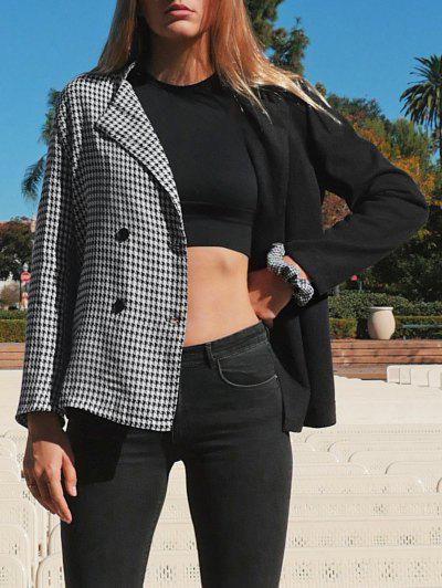 Houndstooth Two Tone Double Breasted Blazer - Black L