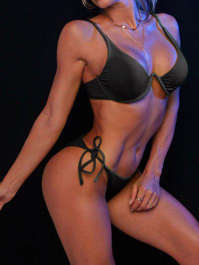 ZAFUL Tie Side Underwire Ribbed Bikini Swimsuit - Black S