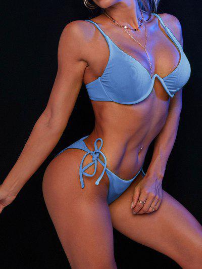 ZAFUL Bikini Bademode Mit Seitlichem Bügel - Seiden Blau S