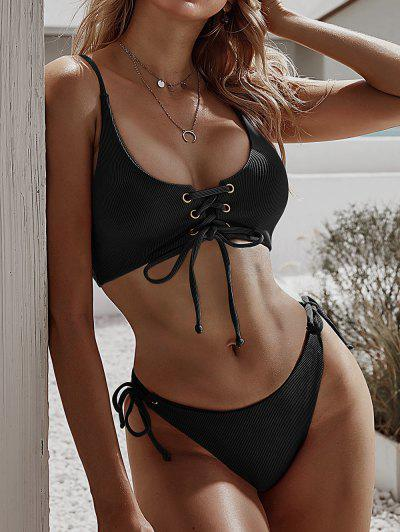 ZAFUL Lace-up Tie Side Ribbed Bikini Swimsuit - Black M