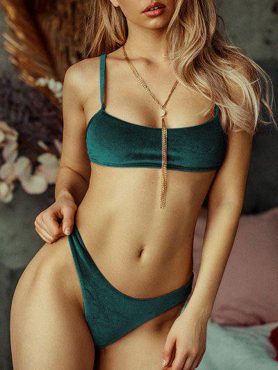ZAFUL Velvet High Leg Bikini Set - Medium Sea Green S