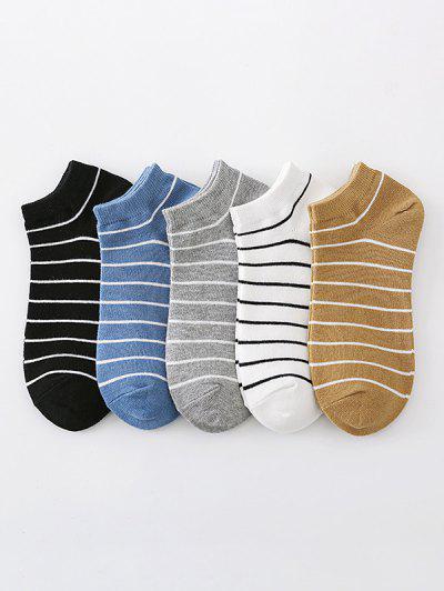 5 Pairs Stripes Pattern Ankle Socks Set - Multi