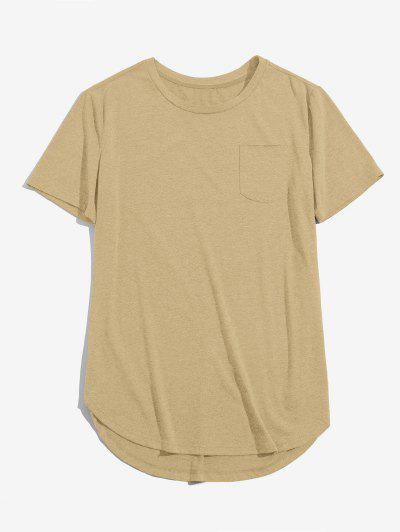 ZAFUL Einfarbiger Brusttaschen Hoher Niedriger T-Shirt - Licht Kaffee L