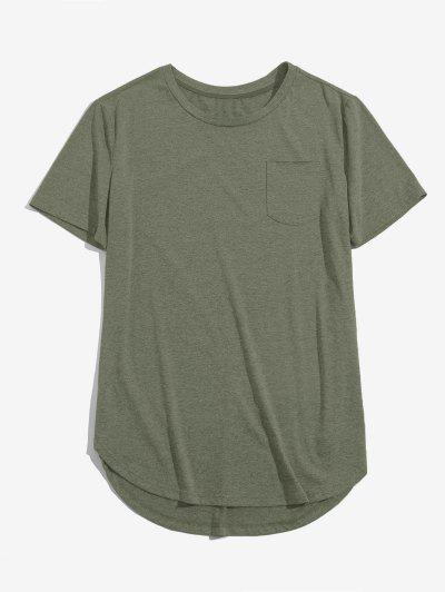 ZAFUL Solid Chest Pocket High Low T-shirt - Light Green 2xl