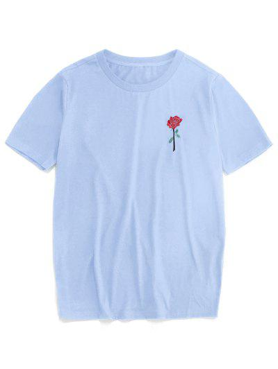 ZAFUL Rose Embroidery Short Sleeve T-shirt - Light Blue Xl