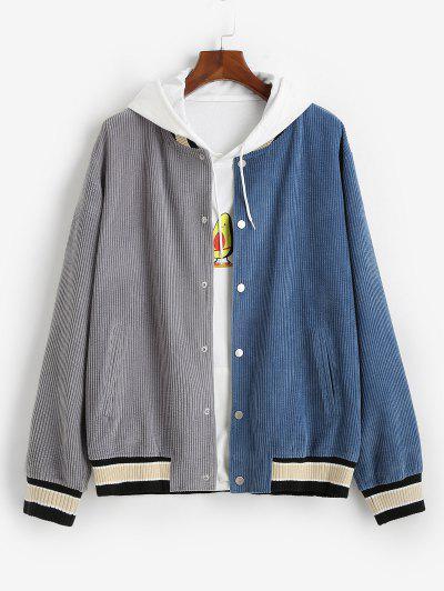 Colorblock Corduroy Baseball Jacket - Blue 2xl