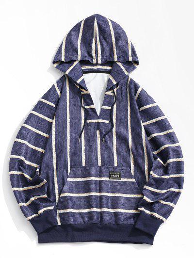 Striped Print V-neck Hoodie - Deep Blue L