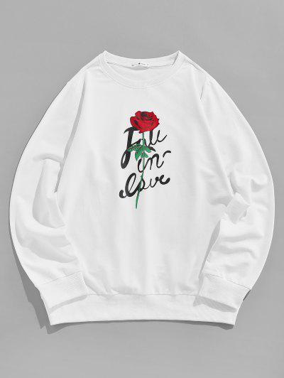 ZAFUL Flower Letter Print Graphic Sweatshirt - White L