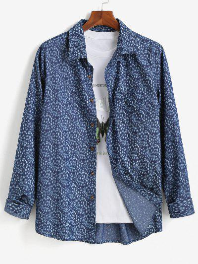 Button Up Pocket Patch Long Sleeve Shirt - Blue S