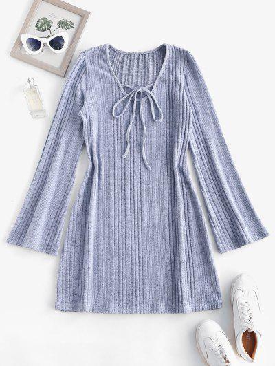 Fuzzy Ribbed Tie Collar Flare Sleeve Dress - Light Gray L