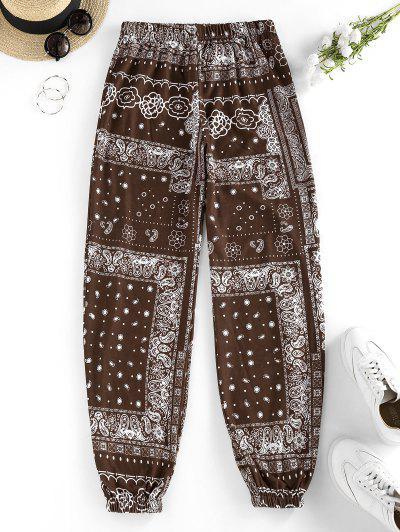 ZAFUL Tribal Flower Paisley Print High Waisted Pants - Deep Coffee S