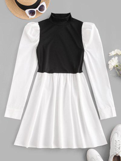 Mock Neck Puff Sleeve Two Tone Mini Dress - White S