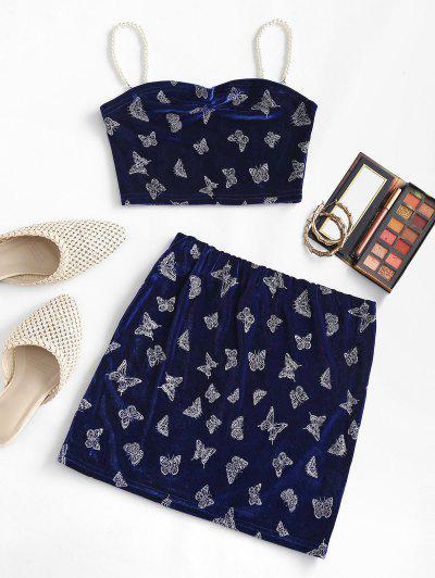 Sparkly Butterfly Velvet Faux Pearl Straps Mini Skirt Set - Deep Blue M