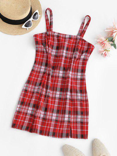 ZAFUL Plaid Front Slit Bodycon Mini Dress - Red L