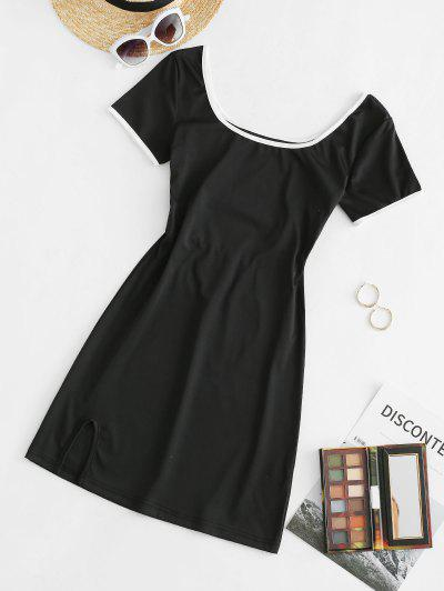 Contrast Binding Slit Cutout Tee Dress - Black M