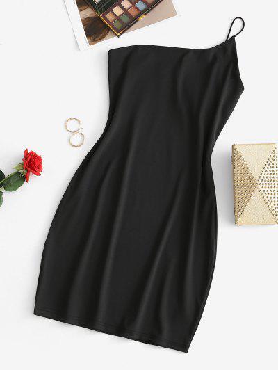 One Shoulder Bodycon Mini Cami Dress - Black S