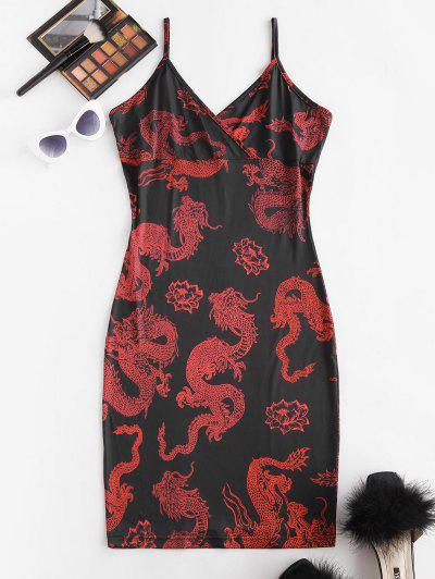 Oriental Dragon Print Surplice Bodycon Cami Dress - Black M