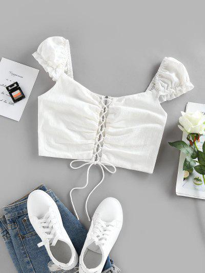 ZAFUL Lace-up Zip Puff Sleeve Crop Top - White M