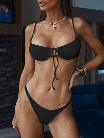 ZAFUL Ribbed Tie Underwire Bikini Swimwear - Black S