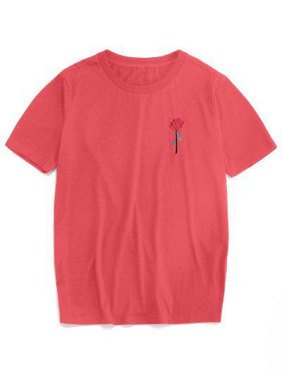 ZAFUL Rosen Stickerei Kurzarm T-Shirt - Hell-pink S