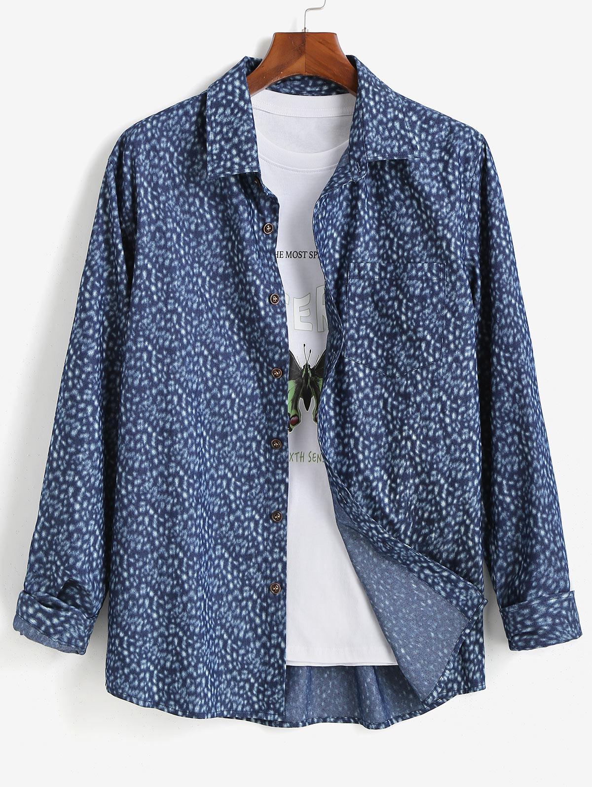 Button Up Pocket Patch Long Sleeve Shirt
