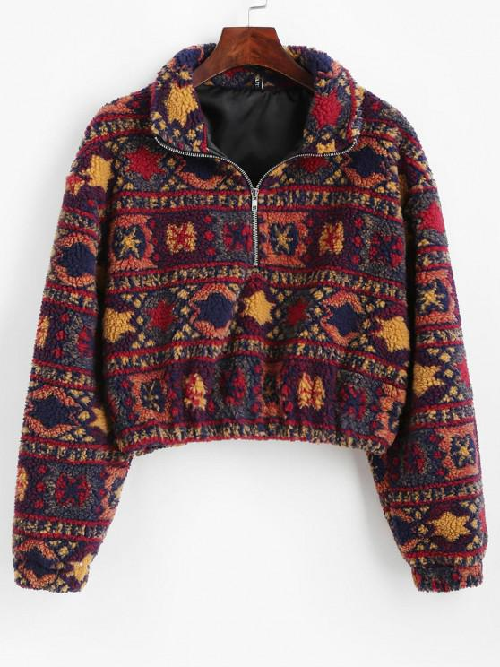 affordable Christmas Snowflake Tribal Half Zip Teddy Sweatshirt - MULTI M