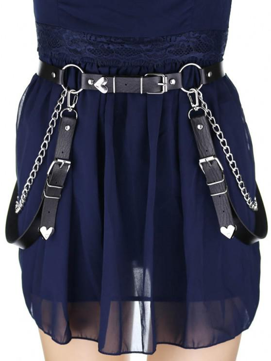 fashion Decorative Chain PU Gothic Waist Belt - BLACK