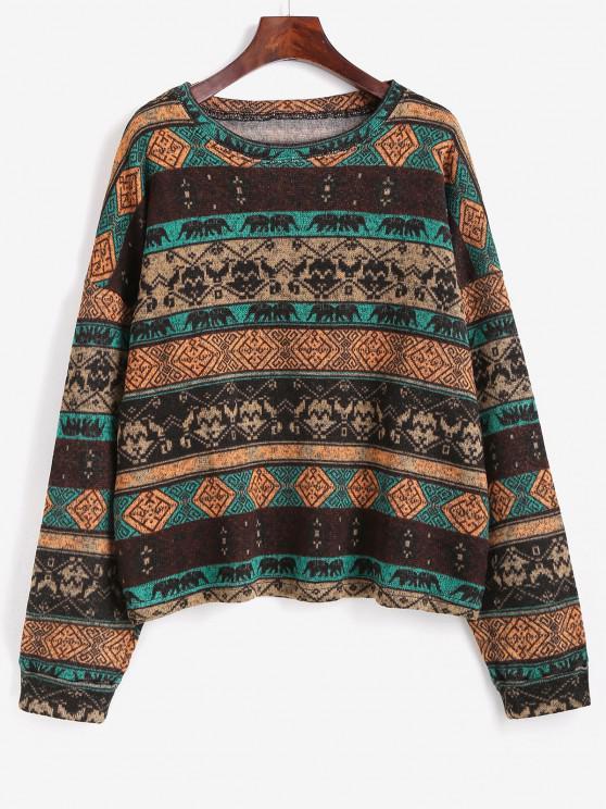 new Tribal Ethnic Knit Fleece Lined Sweater - COFFEE S