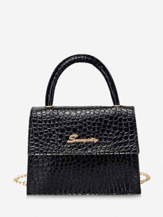 women Letter Pattern Cover Chain Handbag - BLACK