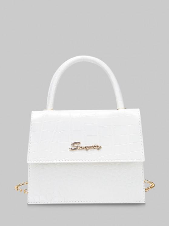 women's Letter Pattern Cover Chain Handbag - WHITE