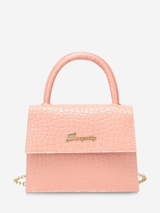 ladies Letter Pattern Cover Chain Handbag - ORANGE PINK