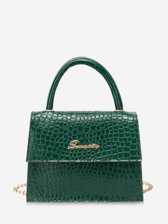 best Letter Pattern Cover Chain Handbag - PINE GREEN