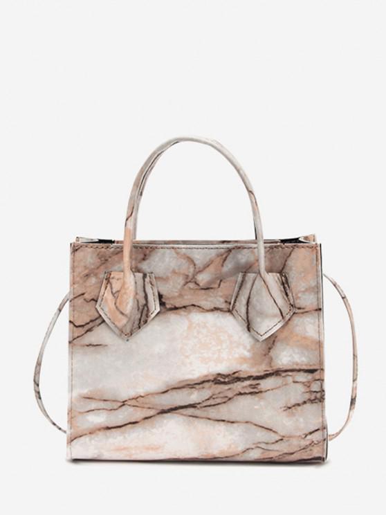 hot Marbling Printed Square Handbag - CAMEL BROWN