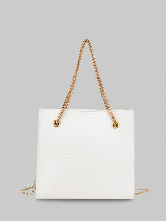 latest Square Stone Grain Chain Shoulder Bag - WHITE