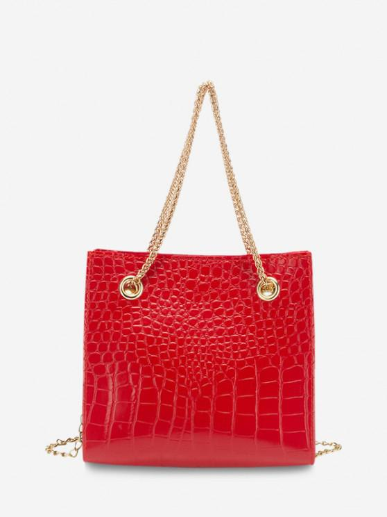 trendy Square Stone Grain Chain Shoulder Bag - RED
