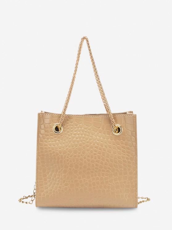 fashion Square Stone Grain Chain Shoulder Bag - BLANCHED ALMOND