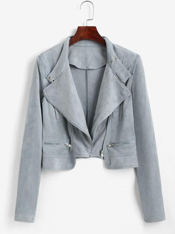 best Faux Suede Zipper Turndown Collar Jacket - LIGHT BLUE M