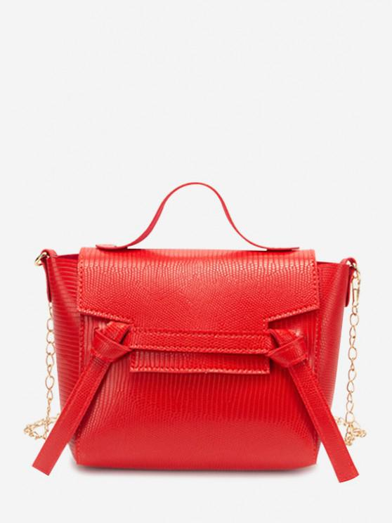 womens Chain Knot Cover Crossbody Bag - RUBY RED