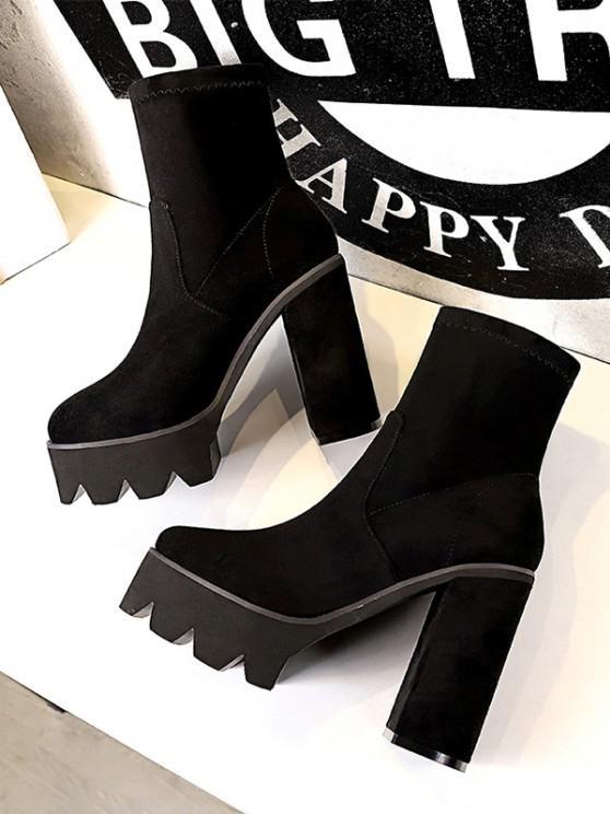 new Suede Chunky Heel Platform Boots - BLACK EU 38