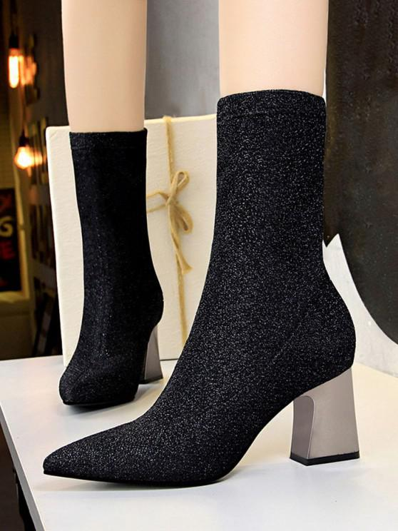 trendy Sparkly Pointed Toe Chunky Heel Boots - BLACK EU 37