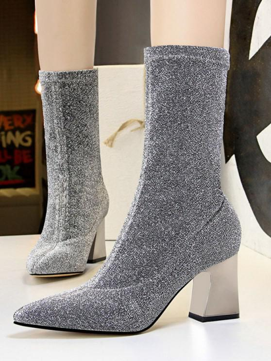 buy Sparkly Pointed Toe Chunky Heel Boots - PLATINUM EU 40