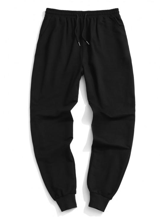 womens Plain Elastic Waist Jogger Sweatpants - BLACK XL