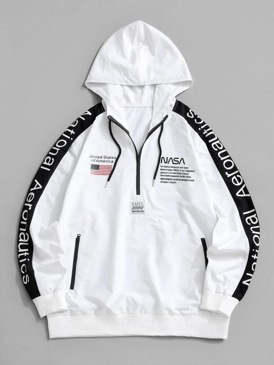 trendy National Aeronautics American Flag Colorblock Half Zip Hoodie - WHITE M