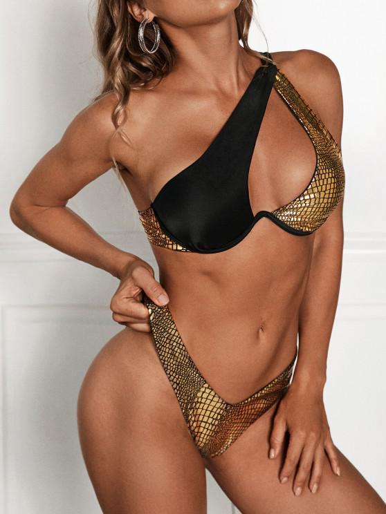 chic ZAFUL Metallic Animal One Shoulder Thong Bikini Swimwear - GOLDEN L