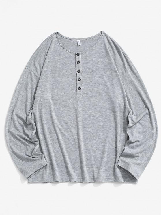 T-shirt Simple à Demi-Bouton à Manches Longues - Gris Foncé L