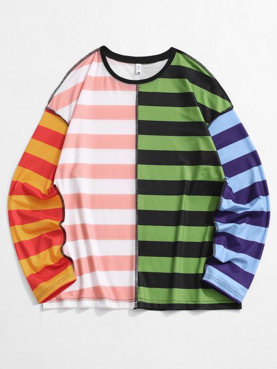Camiseta de Costura de Rayas de Color Bloque - Multicolor L