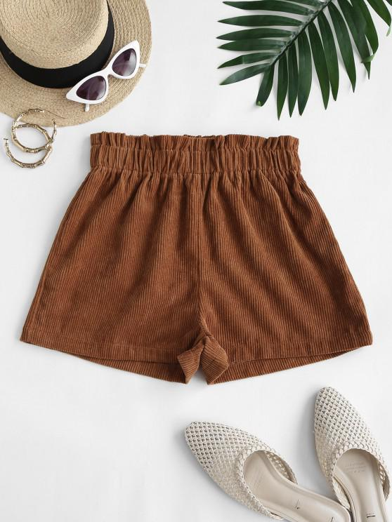 chic Corduroy Frilled Pull On Shorts - COFFEE XL