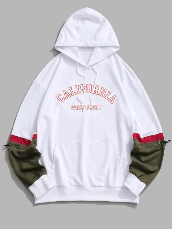 fashion CALIFORNIA WEST COAST Colorblock Hoodie - WHITE 2XL