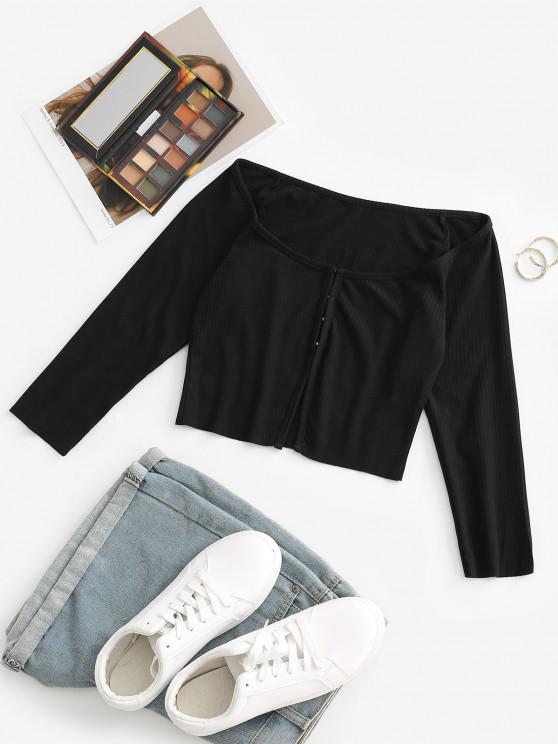 outfit Ribbed Hook and Eye Crop Tee - BLACK L