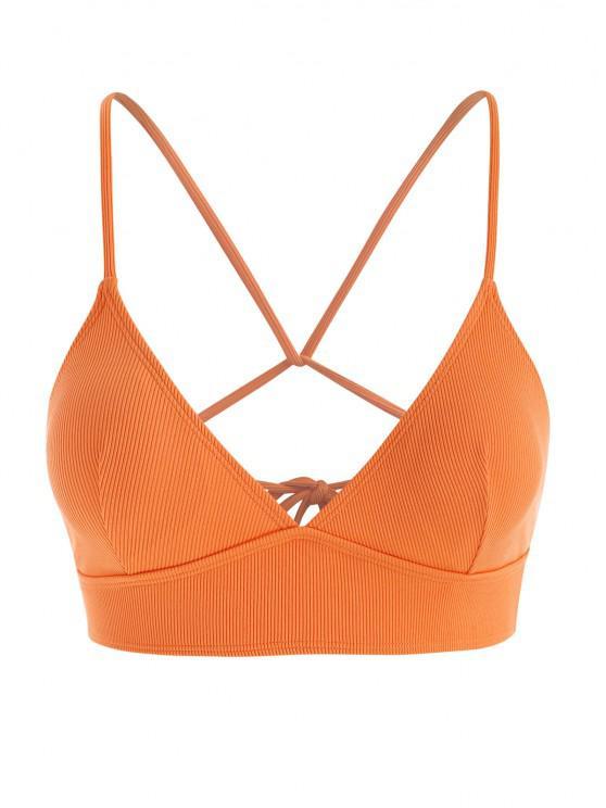 shop Plus Size Ribbed Back Tie Plunge Bikini Top - DARK ORANGE XL